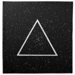 White triangle outline on black star background napkins