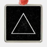 White triangle outline on black star background christmas ornament
