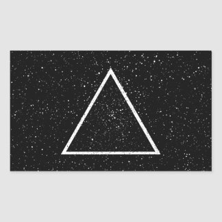 White triangle outline on black star background rectangular sticker