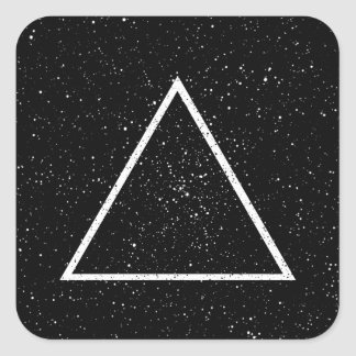 White triangle outline on black star background square sticker