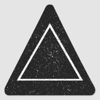 White triangle outline on black star background triangle sticker