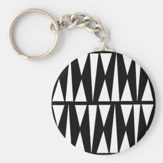 White Triangles Black Butterflies Keychain
