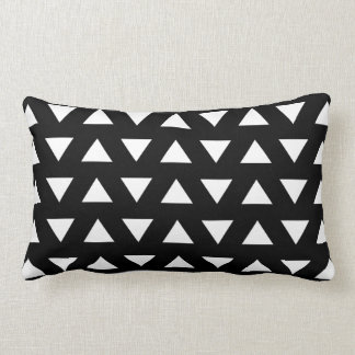 White Triangles on Black. A geometric Pattern. Lumbar Pillow