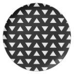 White Triangles on Black. A geometric Pattern. Plates