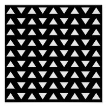 White Triangles on Black. A geometric Pattern. Poster