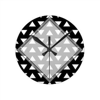 White Triangles on Black. A geometric Pattern. Round Clock