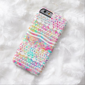 White Tribal Abstract Aztec Neon Rainbow Splatters Barely There iPhone 6 Case