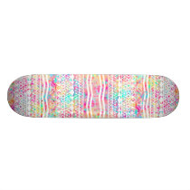 White Tribal Abstract Aztec Neon Rainbow Splatters Skateboard Deck