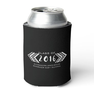 Aztec Themed White Tribal Aztec Graduation Can Cooler