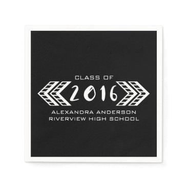 Aztec Themed White Tribal Aztec Graduation Paper Napkins
