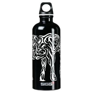 White Tribal Elephant Aluminum Water Bottle