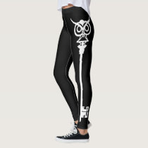 White Tribal Owl Key Leggings