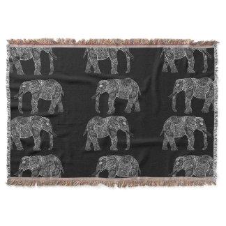 White Tribal Paisley Elephants Henna Illustration Throw Blanket