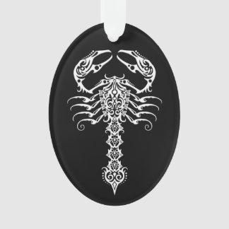 White Tribal Scorpion on Black