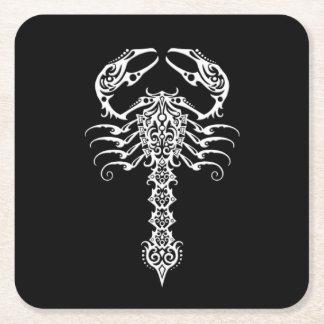 White Tribal Scorpion on Black Square Paper Coaster