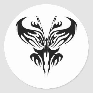 White Tribal Tattoo Butterfly Classic Round Sticker