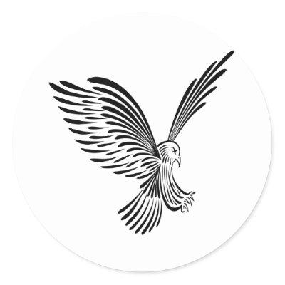 White Tribal Tattoo Eagle Round Sticker by WhiteTiger_LLC