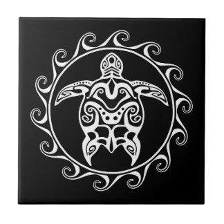 White Tribal Turtle Ceramic Tile