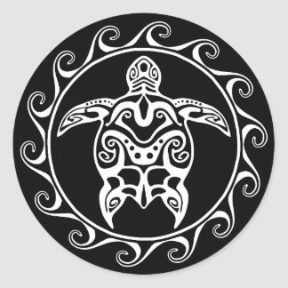 White Tribal Turtle Classic Round Sticker