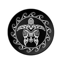 White Tribal Turtle Dinner Plate