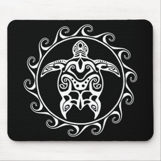 White Tribal Turtle Mouse Pad