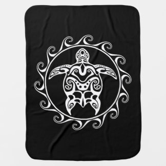 White Tribal Turtle Swaddle Blanket