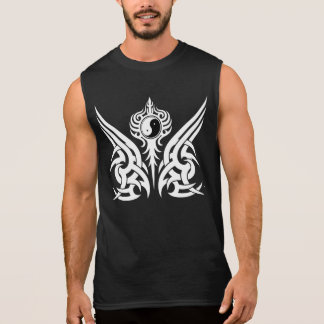 White Tribal Yin Yang Chest Design 5 Sleeveless Shirt
