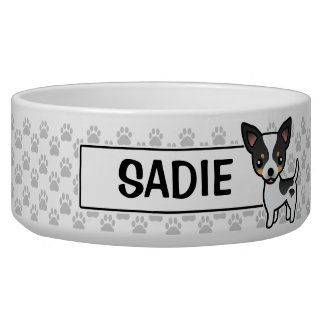 White Tricolor Smooth Coat Chihuahua Cartoon Dog Bowl