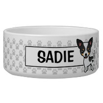 White Tricolor Smooth Coat Chihuahua Illustration Bowl
