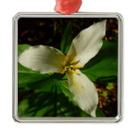 White Trillium Flower Spring Wildflower Metal Ornament