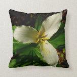 White Trillium Flower Spring Wildflower Throw Pillow