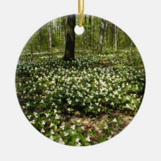 white Trilliums, Morgan Arboretum, Montreal, Quebe Double-Sided Ceramic Round Christmas Ornament