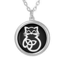White Trinity Knot Celtic Cat Necklace