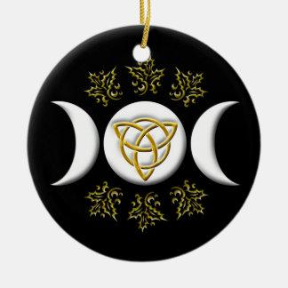White Triple Moon & Golden Tri-Quatra on Black Ceramic Ornament