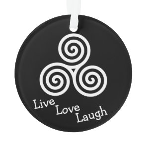 white triple spiral live love laugh ornament