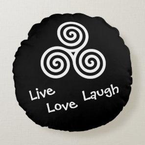 white Triple spiral Live Love Laugh Round Pillow