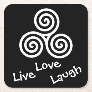 white Triple spiral Live Love Laugh Square Paper Coaster