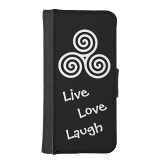 white triple spiral live love laugh wallet phone case for iPhone SE/5/5s