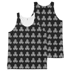 White Triple spiral on black background All-Over-Print Tank Top