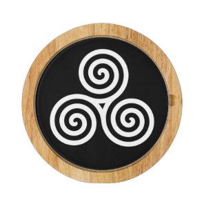 white Triple spiral on black Cheese Board
