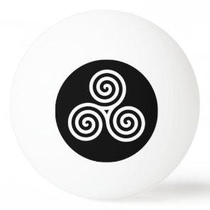 White Triple spiral on black Ping Pong Ball