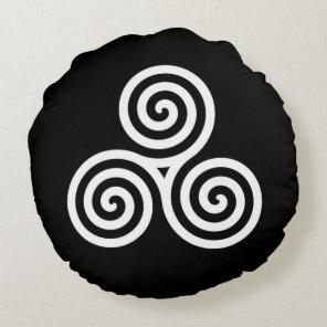 white Triple spiral on black Round Pillow