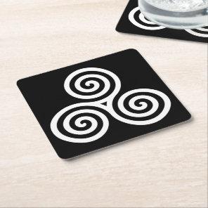 white Triple spiral on black Square Paper Coaster