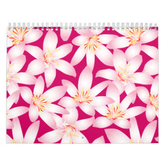 White tropical floral on pink calendar