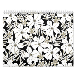 White tropical flowers on black calendar