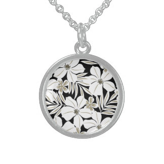 White tropical flowers on black sterling silver necklace