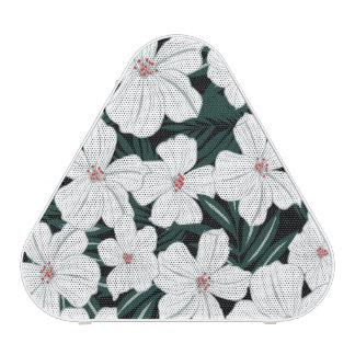 White Tropical Flowers Pattern Bluetooth Speaker