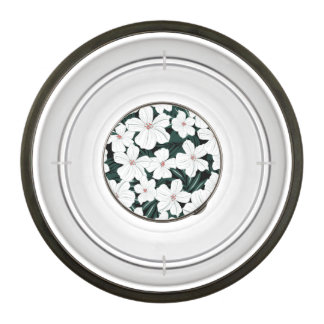 White Tropical Flowers Pattern Bowl