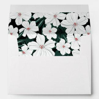 White Tropical Flowers Pattern Envelope