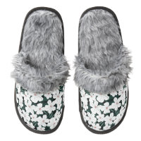 White Tropical Flowers Pattern Pair Of Fuzzy Slippers